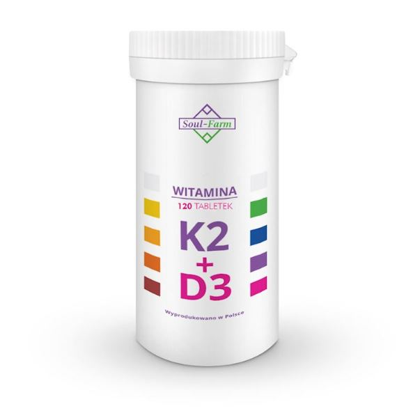 WITAMINA K2 MK7+D3 120 TABLETEK - SOUL FARM